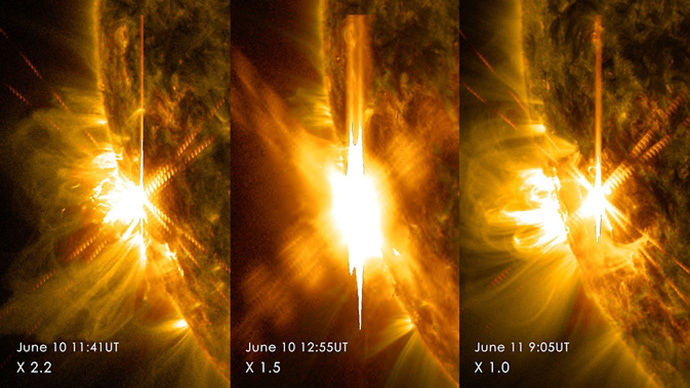 Three X-class flares erupted from the left side of the sun June 10-11, 2014. These images are from NASA's Solar Dynamics Observatory and show light in a blend of two ultraviolet wavelengths: 171 and 131 angstroms. (Image Credit: NASA / SDO)