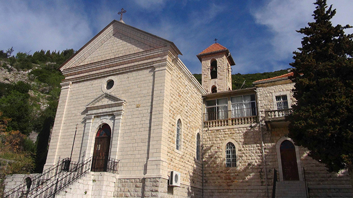A general view shows the exterior of a church in the Armenian Christian town of Kasab (Reuters / Stringer)