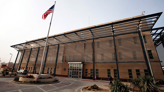 A U.S. flag flies in front of the Chancellery building inside the compound of the U.S. embassy in Baghdad (Reuters / Lucas Jackson)