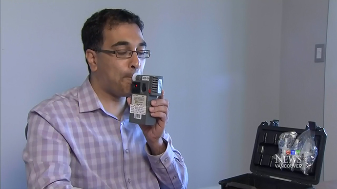 Dr. Raj Attariwala demonstrates his Cannabix Breathalyzer. Screenshot courtesy CTV News, 2014