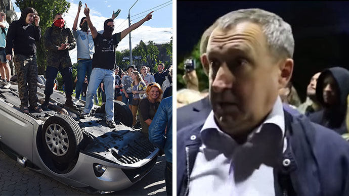 This combo photo shows demonstrators stand on an overturned car during a rally against the Russian president in front of the Russian embassy in Kiev on June 14, 2014 and Ukraine's foreign minister, Andrey Deshchitsa (right). (AFP Photo / Sergey Supinsky / Still from a video)