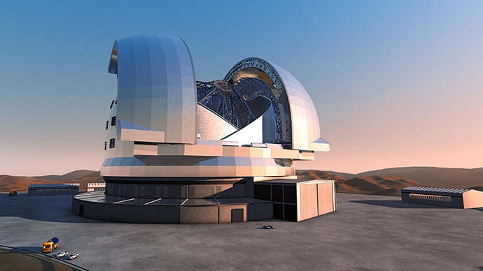 Artist's impression of the European Extremely Large Telescope (E-ELT). The E-ELT will be the largest optical/infrared telescope in the world — the world's biggest eye on the sky. (image from www.eso.org)