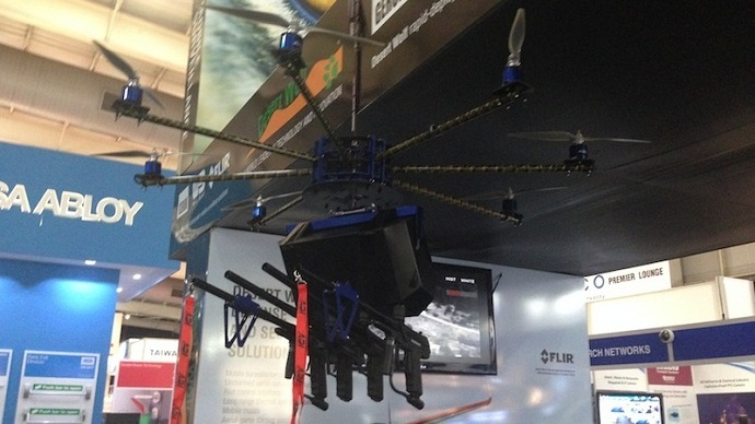 Skunk Riot Control Copter at the  IFSEC security exhibition outside Johannesburg, South Africa (courtesy Desert Wolf)
