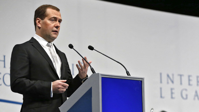 Prime Minister Dmitry Medvedev speaks at the plenary meeting of the St. Petersburg International Legal Forum. (RIA Novosti/Dmitry Astakhov)