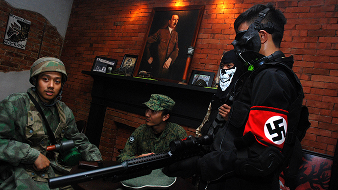 "Soldatenkaffe ""The Soldiers' Cafe"" in Bandung, Indonesia  (AFP Photo / Timur Matahari)"