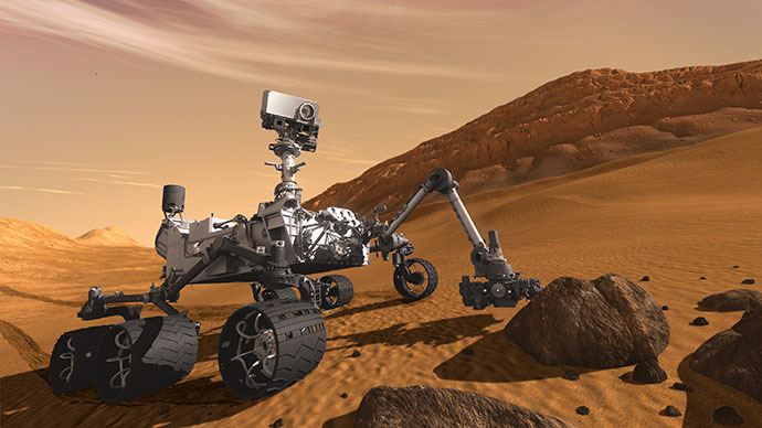 This artist concept features NASA's Mars Science Laboratory Curiosity rover, a mobile robot for investigating Mars' past or present ability to sustain microbial life. (NASA / JPL-Caltech)