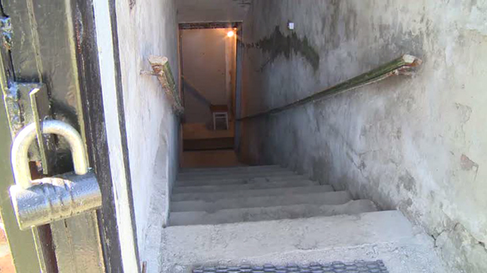 A bomb shelter in Lugansk, eastern Ukraine (screenshot from RT video)
