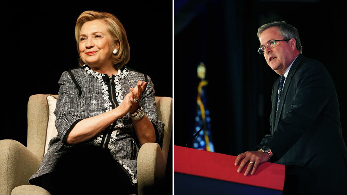 Former U.S. Secretary of State Hillary Clinton, Former Florida Governor Jeb Bush.(Reuters / Jonathan Ernst / Mary F. Calvert)