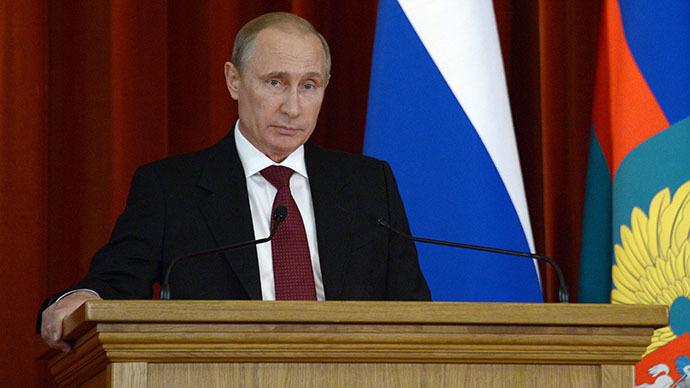 President Vladimir Putin meeting with Russian ambassadors at the Foreign Ministry mansion, July 1, 2014. (RIA Novosti / Aleksey Nikolskyi)