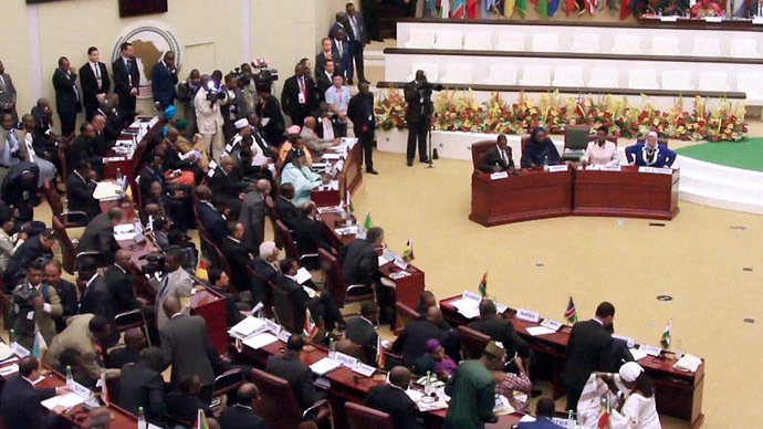 A video grab taken from AFP footage on June 26, 2014 shows participants taking their places during the opening of an African Union (AU) summit in Malabo, Equatorial Guinea, on June 26, 2014. (AFP Photo)