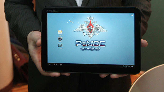A prototype of a Russian tablet, built using the Android-derived operating system RoMOS for the Russian Defense Ministry, which is apparently one featuring a physical disconnection of communication modules described by the OS developer TsNII EISU. (RIA Novosti / Sergey Mamontov)