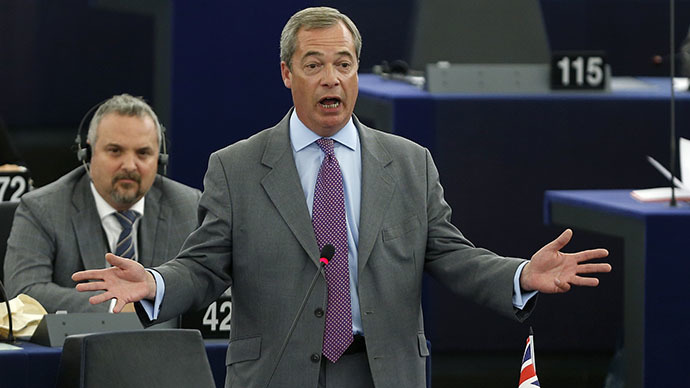 UK Independence Party (UKIP) leader Nigel Farage addresses the European Parliament during a debate on the last European Council meeting in Strasbourg, July 2, 2014. (Reuters / Jean-Marc Loos)