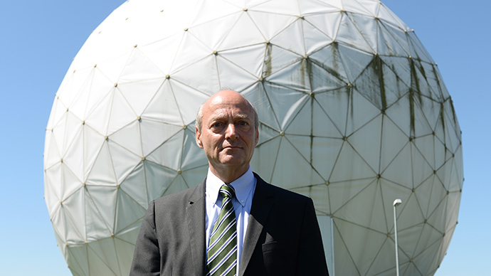 Gerhard Schindler, President of the German Federal Intelligence Service (BND) poses for a picture prior to a guided tour of the former monitoring base of the US intelligence organization National Security Agency (NSA) in Bad Aibling, southern Germany on June 6, 2014 (AFP Photo / Christof Stache)