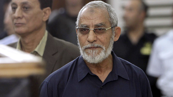Muslim Brotherhood's Supreme Guide Mohamed Badie looks on during his trial at a court in Cairo, May 18, 2014. (Reuters / Al Youm Al Saabi)
