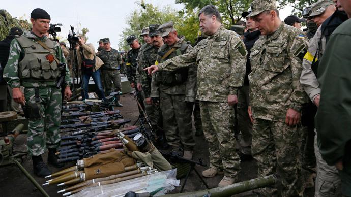 Ukrainian President Petro Poroshenko, near the town of Slaviansk, July 8, 2014.(Reuters / Gleb Garanich)