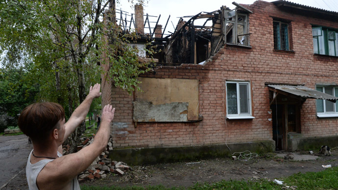 A house in the residential settlement Malaya Vergunka, on the outskirts of Lugansk, ruined by a Ukrainian air raid. (RIA Novosti/Mikhail Voskresenskiy)