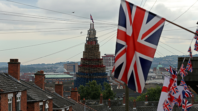 A bonfire is seen erected on the Shankill Road in West Belfast July 10, 2014 (Reuters / Cathal McNaughton)
