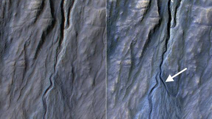 This pair of before (left) and after (right) images from the High Resolution Imaging Science Experiment (HiRISE) camera on NASA's Mars Reconnaissance Orbiter documents formation of a new channel on a Martian slope between 2010 and 2013, likely resulting from activity of carbon-dioxide frost (Image from nasa.gov)
