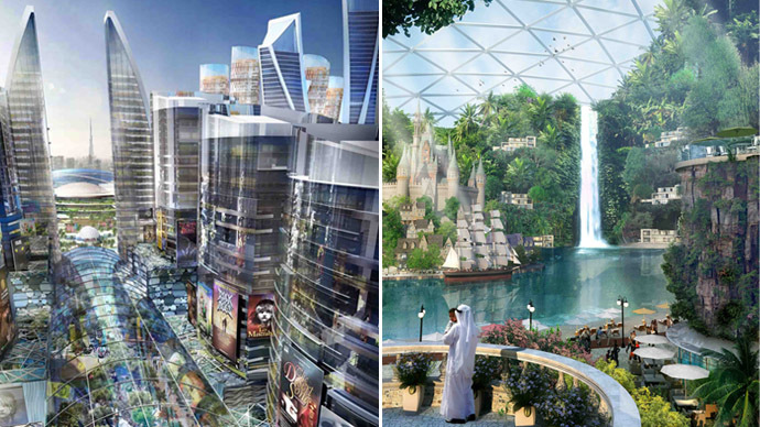 "A handout generated image released on July 6, 2014 by the press office of Sheikh Mohammed Bin Rashid al-Maktoum, ruler of Dubai shows the ""Mall of the World"" to be built in Dubai. (AFP Photo/Sheikh Mohammed Bin Rashid)"