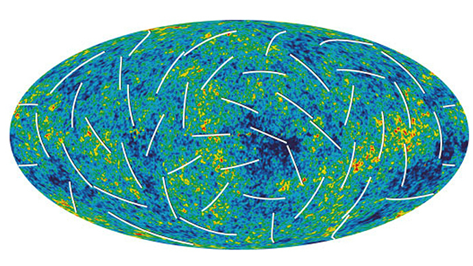"Wilkinson Microwave Anisotropy Probe (WMAP) has produced a new, more detailed picture of the infant universe shown in this image released on March 16, 2006. Colors indicate ""warmer"" (red) and ""cooler"" (blue) spots. The white bars show the ""polarization"" direction of the oldest light. This new information helps to pinpoint when the first stars formed and provides new clues about events that transpired in the first trillionth of a second of the universe (Reuters)"