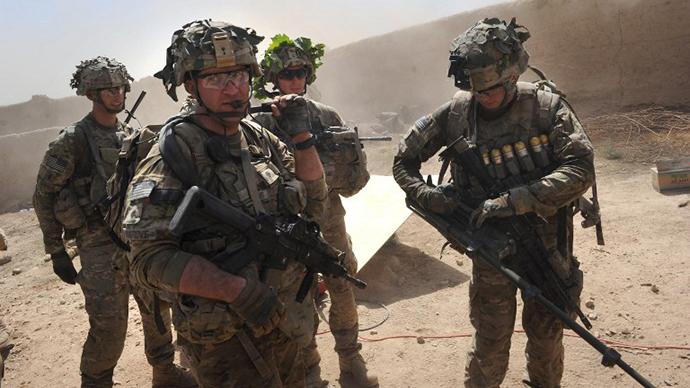 In this photo taken on August 5, 2011, US troops patrols Kandalay village following Taliban attacks. (AFP Photo / Romeo Gacad)