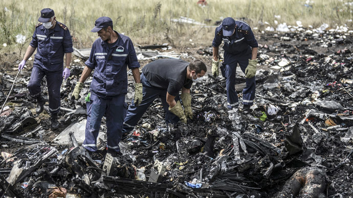 Ukrainian State Emergency Service employees search for bodies amongst the wreckage at the crash site of Malaysia Airlines Flight MH17, near the village of Grabove, in the region of Donetsk on July 20, 2014. (AFP Photo / Bulent Kilic)