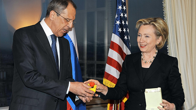"The first full-scale meeting of Foreign Minister Sergei Lavrov and his U.S. counterpart Hillary Clinton took part in Geneva's Intercontinental. Mrs Clinton presented Mr Lavrov with a souvenir button with the word ""Reset"" (RIA Novosti / Eduard Pesov)"