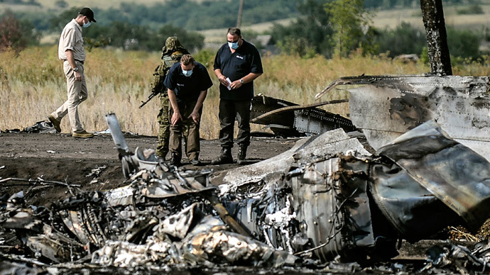 Investigators work at a the crash site of the Malaysia Airlines Flight MH17 near the village of Hrabove (Grabovo), some 80km east of Donetsk (AFP Photo / Bulent Kiic)