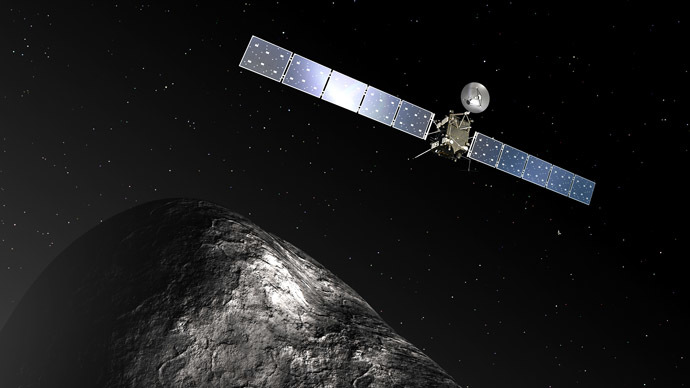 (FILES) This artist impression released by the European Space Agency on December 3, 2012 of the Rosetta orbiter at comet 67P/Churyumov–Gerasimenko. (AFP/ESA)