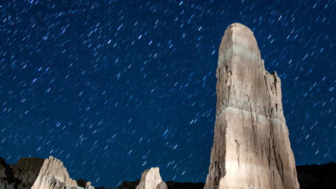 Perseid meteors streak across the sky on August 12, 2013 in Cathedral Gorge State Park, Nevada. (Ethan Miller/Getty Images/AFP)
