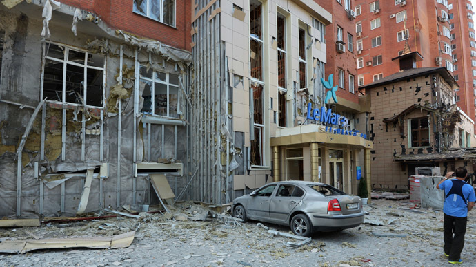 A residential building in downtown Donetsk damaged during the city's artillery shelling by Ukrainian forces. (RIA Novosti)