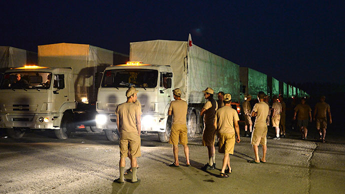 Russian humanitarian convoy to Ukraine departs from Alabino, Moscow region. (RIA Novosti / Maksim Blinov)