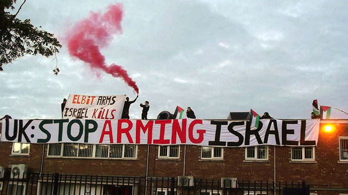 A UK arms factory was recently occupied by nine British activists in protest against the company's alleged complicity in Israel's Operation Protective Edge. (Image from londonpalestineaction.tumblr.com)