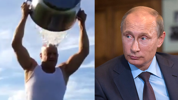 "This combo of photos shows Vin Diesel's ""Ice Challenge"" (left) and Russian President Vladimir Putin (An Image grab taken from a video uploaded on YouTube by MusicStudioTV, Reuters / Alexander Zemlianichenko)"