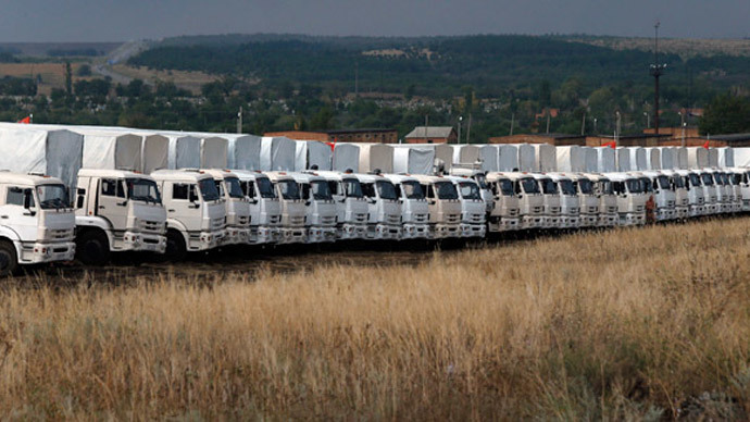 A Russian convoy of trucks carrying humanitarian aid for Ukraine is parked at a camp in Kamensk-Shakhtinsky, Rostov Region, August 18, 2014.(Reuters / Alexander Demianchuk)