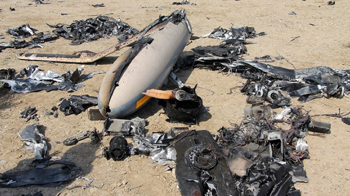 A handout picture released by the official website of Iran's Revolutionary Guard on August 25, 2014, shows an alleged Israeli drone that was shot down above the Natanz uranium enrichment site. (AFP Photo)