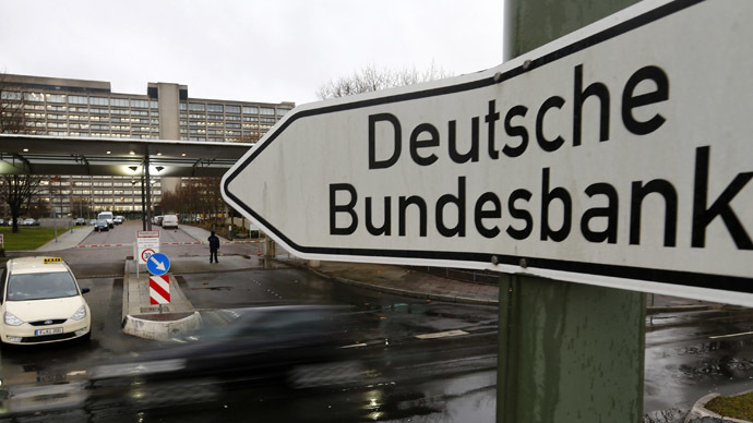 A sign is seen outside the headquarters Germany's federal bank Deutsche Bundesbank in Frankfurt (Reuters)