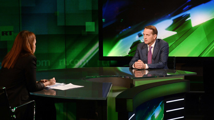 Sergey Naryshkin at RT on August 30, 2014 (Image by RIA Novosti)