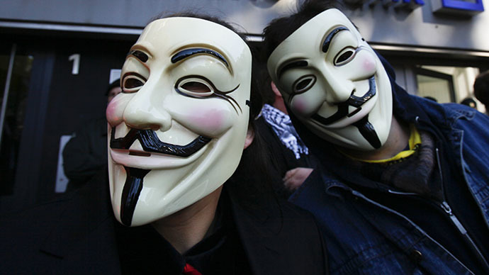 Following a privacy rights protest outside GCHQ's headquaters, Anonymous UK's site has been taken down. (Reuters / Wolfgang Rattay)