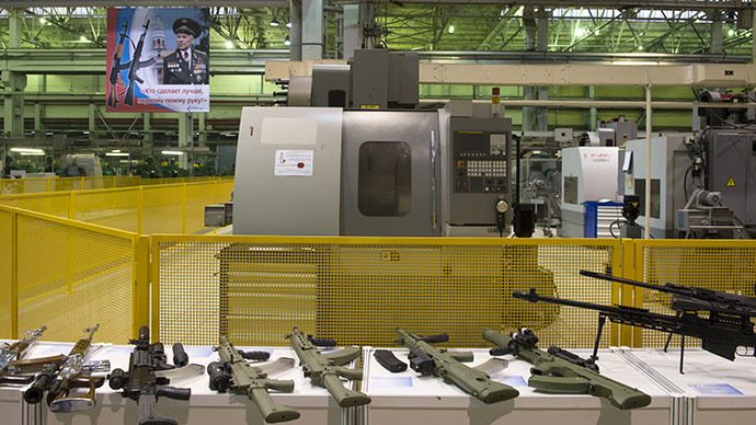 "Samples of weapons in the workshop of the enterprise ""Concern Kalashnikov"" in Izhevsk. (RIA Novosti / Sergey Guneev)"
