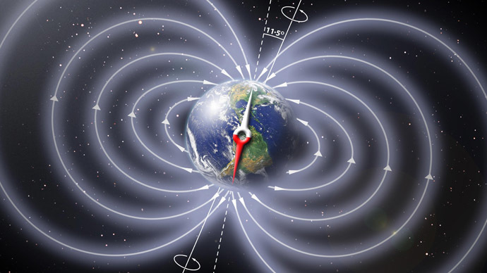 Schematic illustration of the invisible magnetic field lines of Earth (Image from nasa.gov)