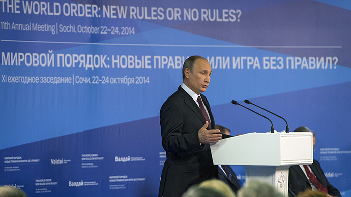 24 October 2014. Russian President Vladimir Putin speaks at the wrap-up session of the 11th Meeting of the Valdai Discussion Club in Sochi (RIA Novosti / Sergey Guneev)
