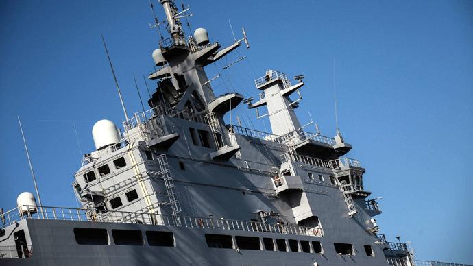 Vladivostok amphibious assault ship of the French Mistral class in the docks of SNX France. (RIA Novosti/Alexey Filippov)