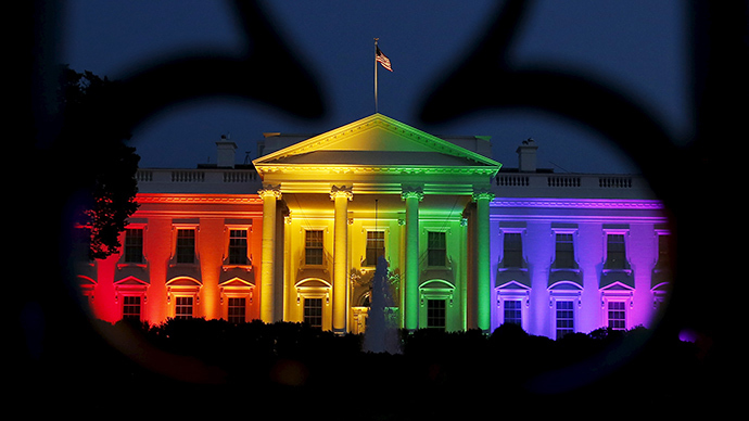 The White House is illuminated in rainbow colors after today's historic Supreme Court ruling legalizing gay marriage in Washington June 26, 2015 (Reuters / Gary Cameron)