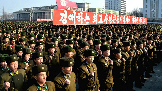 North Korea's soldiers attending a rally at Kim Il Sung Square in Pyongyang to support the statement of a spokesman of the Korean People's Army. (AFP Photo / KNS)