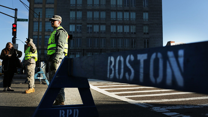 National Guard soldiers guard a roadblock near the scene of a twin bombing at the Boston Marathon on April 16, 2013 in Boston (AFP Photo / Spencer Platt)