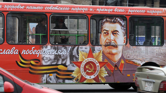 A bus with a portrait of the Soviet dictator Josef Stalin drives in the centre of St. Petersburg, May 5, 2010. (Reuters)
