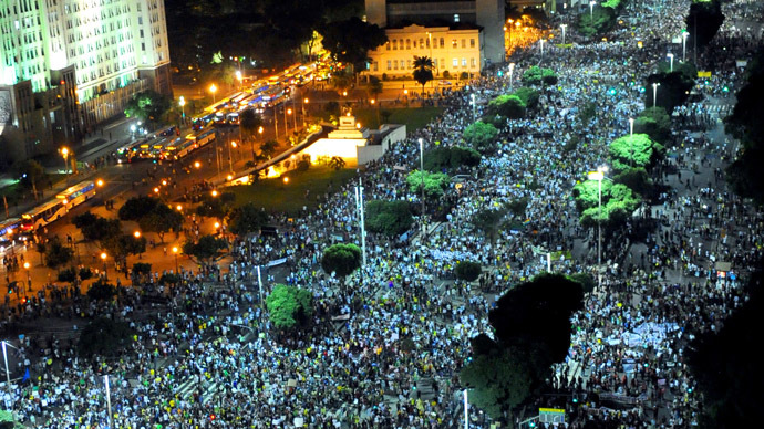 People march in downtown Rio de Janeiro on June 20, 2013, during a protest of what is now called the 'Tropical Spring' against corruption and price hikes.  (AFP Photo)