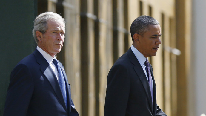 U.S. President Barack Obama and former President George W. Bush (Reuters)