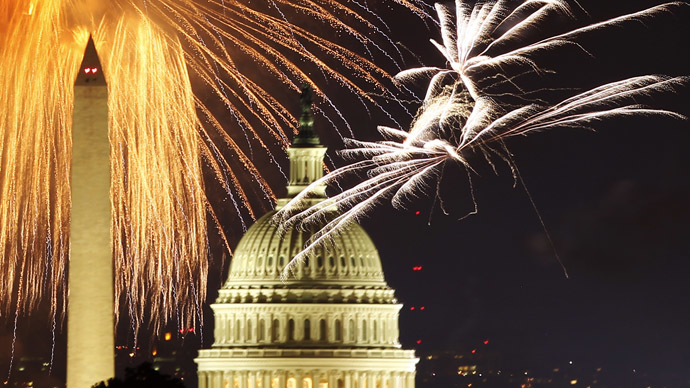 Fireworks light up the sky over the United States Capitol dome and the Washington Monument as the U.S. celebrates its 235th Independence Day in Washington July 4, 2011 (Reuters)